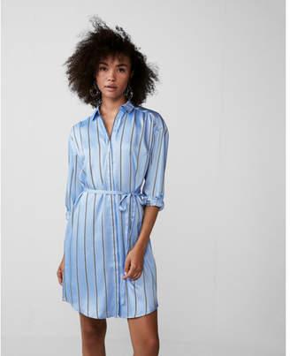 Express long sleeve striped shirt dress