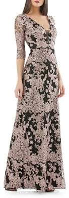 JS Collections Embroidered Column Gown