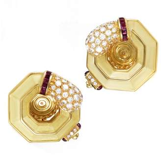 Chaumet 18K Yellow Gold 2ct Diamond & Ruby Clip-On Earrings