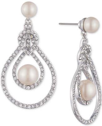 Carolee Silver-Tone Pave & Imitation Pearl Openwork Drop Earrings