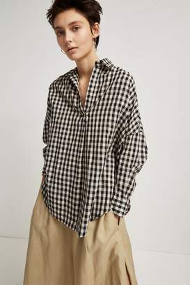 French Connection Materia Linen Gingham Pull Over Shirt