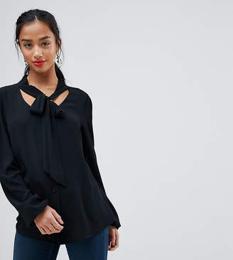 John Zack Petite Plunge Front Blouse With Neck Tie