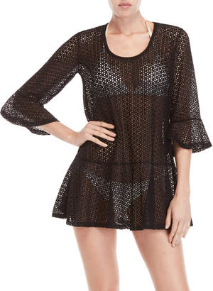 Jordan Taylor Elif For Open Knit Ruffle Trim Cover-Up Tunic