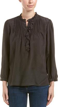 Rebecca Taylor Ruffled Silk Pindot Top