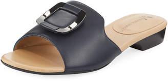 Neiman Marcus Bagot Leather Slide Sandals, Navy