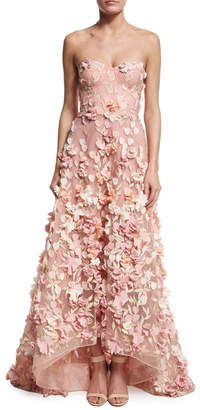 Marchesa Strapless Petal Gown