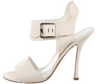 Sergio Rossi Lizard Ankle Strap Sandals