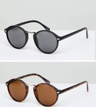Asos DESIGN Round Sunglasses 2 Pack In Black & Tort Save