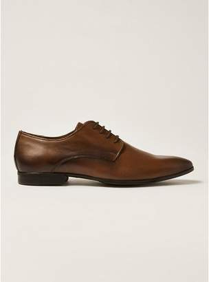 Topman Mens Brown Tan Leather Fly Derby Shoes