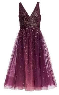 Marchesa Women's Glitter Tulle Cocktail Dress - Wine - Size 6