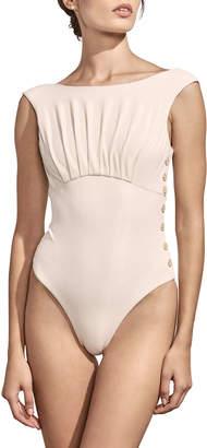 Ophelia Amaio Swim High-Cut Button Maillot One-Piece Swimsuit