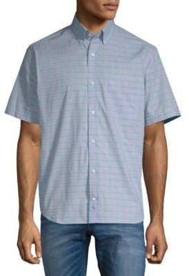 Tailorbyrd Ewing Plaid Short-Sleeve Cotton Button-Down Shirt