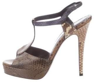 Saint Laurent Snakeskin T-Strap Sandals