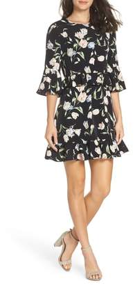 AVEC LES FILLES Floral Bell Sleeve Dress