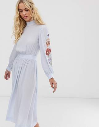 And other stories & sheer sleeves floral embroidered midi dress in light blue