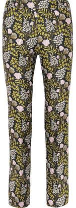 Giambattista Valli Floral-jacquard Slim-leg Pants - Black