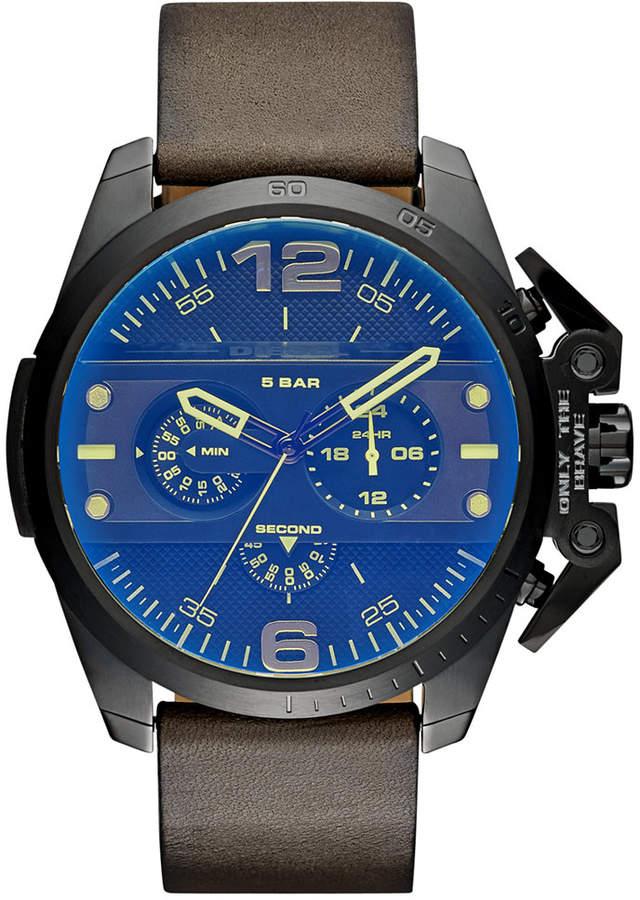DieselDiesel Men's Chronograph Ironside Olive Leather Strap Watch 48x55mm DZ4364