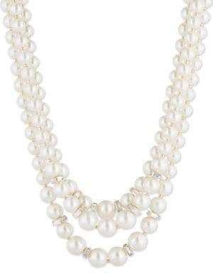 Anne Klein Glass Pearl Nested Beaded Necklace