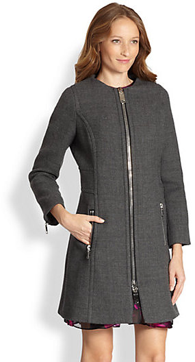 Milly Slim Stretch-Wool Coat