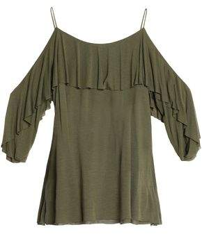 Tibi Woman Cold-shoulder Ruched Cady Top Army Green Size 10 Tibi