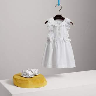 Burberry Scalloped Plissé Detail Cotton Shirt Dress