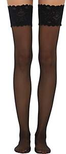 Wolford Women's Satin Touch 20 Stay-Up Stockings - Black