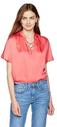 Essentialist Women's Lace-up V-Neck Short-Sleeve Blouse