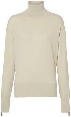 Burberry Logo Detail Merino Wool Silk Roll-neck Sweater