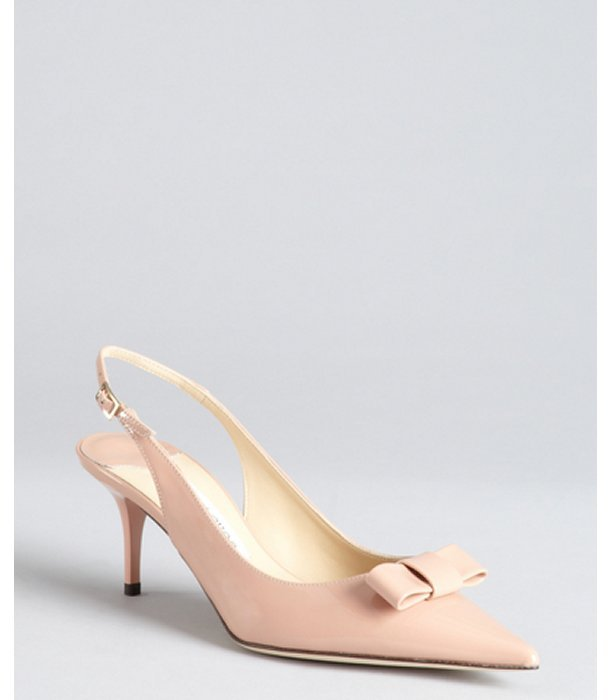 Jimmy Choo blush patent leather bow pointed toe 'Mara' slingback pumps