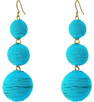 Kenneth Jay Lane Triple Graduated Turquoise Thread Wrapped Balls Fishhook Top Ear Earrings Earring