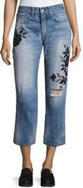 Ramona Embroidered Marilyn Crop Jeans Indigo