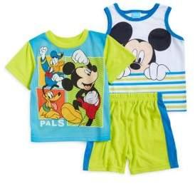 AME Sleepwear Little Boy's Three-Piece Printed Tee, Tank Top and Shorts Pajama Set