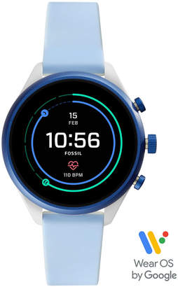 Fossil Women Sport Hr Light Blue Silicone Strap Smart Watch 41mm, Powered by Wear Os by Google