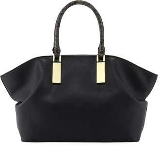 Neiman Marcus Libby Faux-Leather Satchel Bag