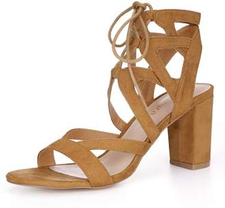 214750de93 Allegra K Women's Open Toe Lace Up Chunky Heel Sandals (Size US ...