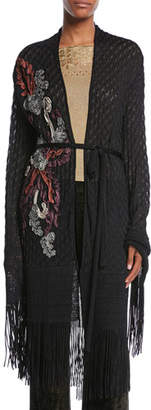 Etro Embroidered Open-Front Belted Crochet Cardigan w/ Fringe