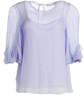 See by Chloe Sheer Silk Ruffle Blouse