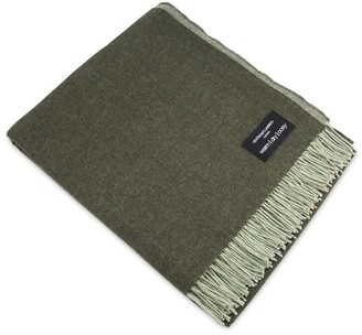 Heating & Plumbing London Merino Lambswool Throw Grey & Green Reversible