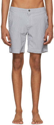 Onia Grey and White Striped Calder Swim Shorts