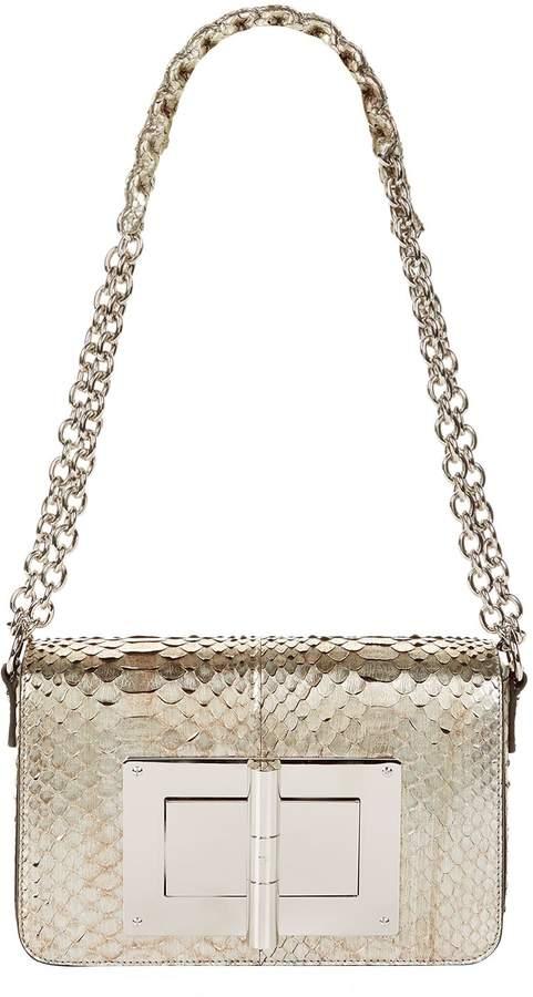 TOM FORD Large Natalia Python Shoulder Bag, Silver, One Size