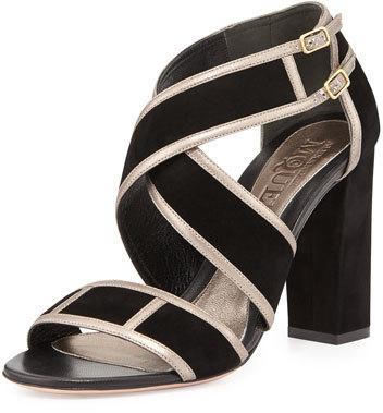 Alexander McQueen Crisscross Chunky-Heel Sandal, Black