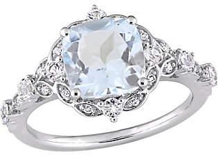Nobrand NO BRAND 14K 2.55 cttw Aquamarine & White Sapphire Vintage-Style Ring