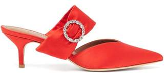 Malone Souliers Maite Crystal Buckle Satin Mules - Womens - Red
