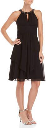Eliza J Embellished Neck Halter Dress
