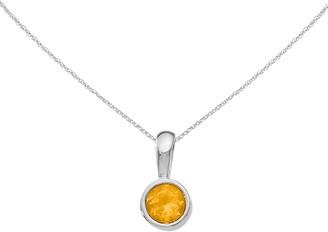 """14K White Gold Citrine Pendant w/18"""" Chain"""