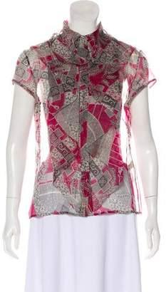 Zac Posen Printed Silk Top