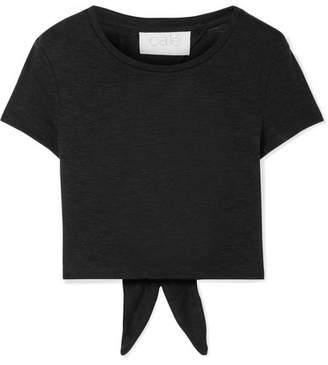 calé - Jolie Tie-back Slub Jersey T-shirt - Black