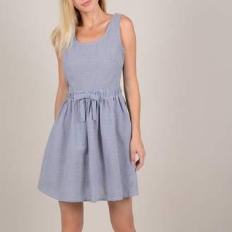 Molly Bracken Gingham Print Short Dress with Cross-Over Open Back