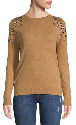 INC International Concepts Petite Cold-Shoulder Grommet Sweater
