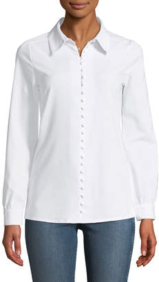 Haute Rogue Sara Looped-Button-Front Poplin Blouse